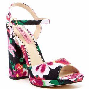 Betsey Johnson Isla Black Floral Print Heels 7